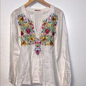Johnny Was Linen Pintuck Floral Embroidered Tunic